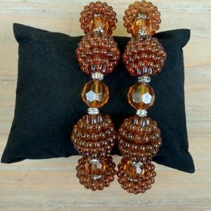 Jewelry - Brown beaded w/silver accents stretch bracelets